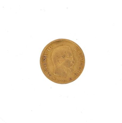 A 10 FF Napoleon III bareheaded gold coin...