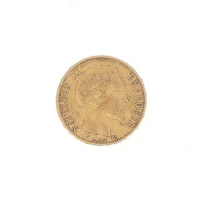 A 20 FF Napoleon III bareheaded gold coin...