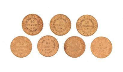 Seven gold coins of 20 FF Génie 2 x 1874...