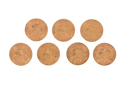 Seven gold coins of 20 FF Rooster 2 x 1906,...