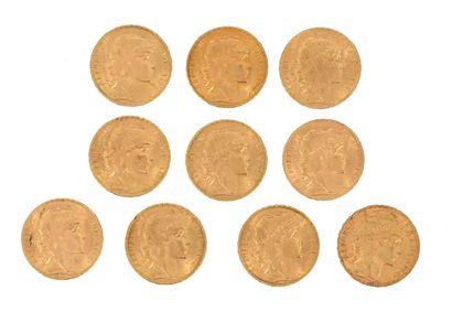 Ten gold coins of 20 FF Coq  1907, 2 x 1908,...