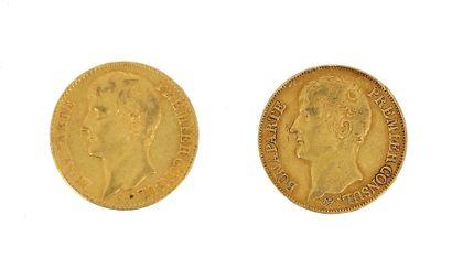 Two 40 FF gold coins Bonaparte Premier Consul...