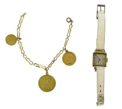 Bracelet in 18 K (750 °/°°) yellow gold with fancy mesh, bearing three gold pendulum...