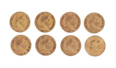 Huit pièces en or de 10 FF : - 7 x 10 FF Napoléon III lauré (1862 A, 1862 BB, 1863...