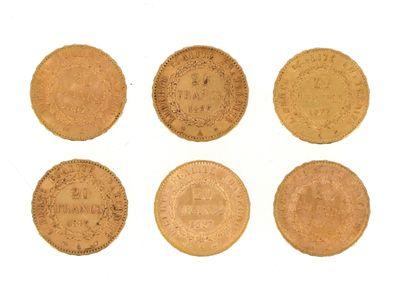 Six gold coins of 20 FF Génie  2 x 1877 A...