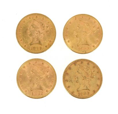 Four 10 US Dollars gold Liberty Head coins...