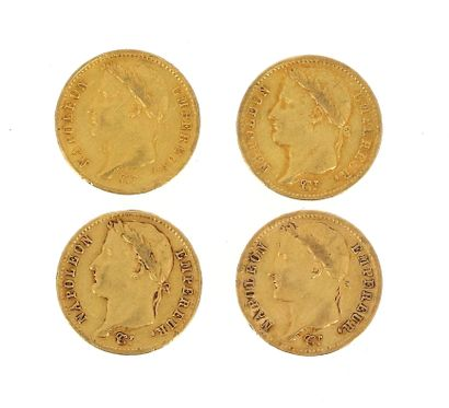 Four 20 FF gold coins Napoleon Emperor laureate...