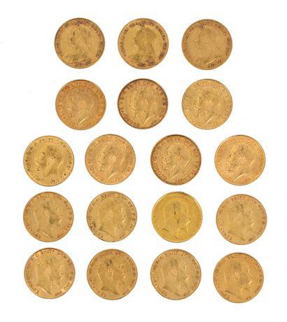 18 gold half-sovereigns:  - 3 x Old Victoria...