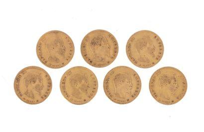 Seven gold coins 10 FF Napoleon III bare...
