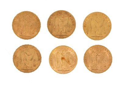 Six pièces en or de 20 FF Génie  2 x 1877 A et 4 x 1897 A