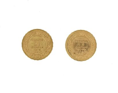 Two gold coins of 20 Tunisian francs  1898...