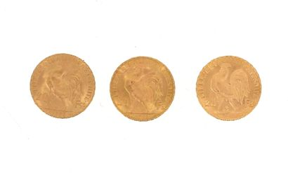 Three gold coins of 20 FF Coq  2 x 1907 and...