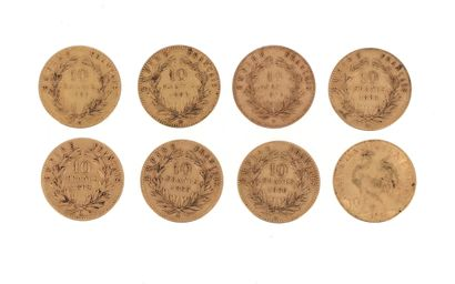 Eight gold coins of 10 FF : - 7 x 10 FF...