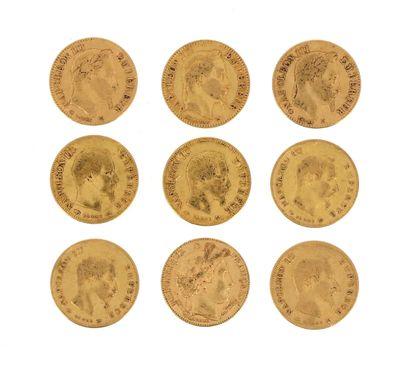 Nine 10 FF gold coins:  - 5 x 10 FF Napoleon...
