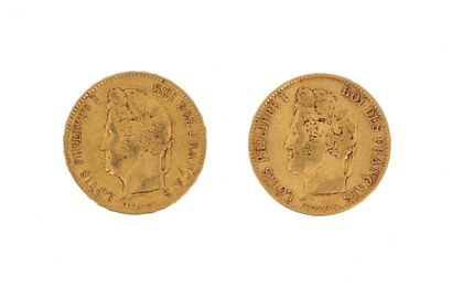 Two 40 FF Louis Philippe gold coins  1833...