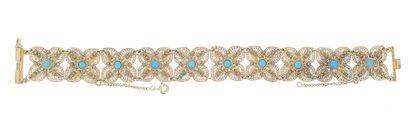 Bracelet en or jaune 14 K (585 °/°°) composé...