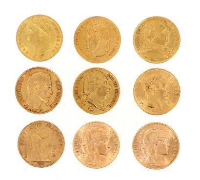 Nine 20 FF gold coins:  - 1 x 20 FF Napoleon...