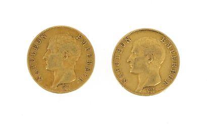 Two 40 FF gold coins Napoleon Emperor bareheaded...