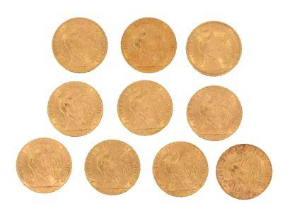 Ten gold coins of 20 FF Coq  1907, 2 x 1908, 2 x 1909, 1911, 1912, 3 x 1914