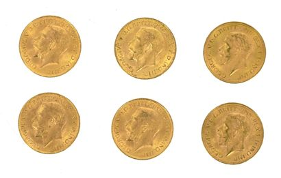 Six Golden Sovereigns George V  4 x 1911...