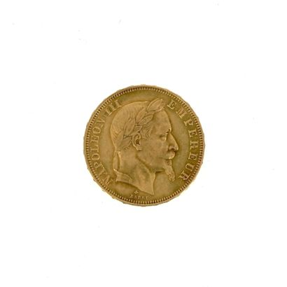 A gold coin of 50 FF Napoleon III laureate...