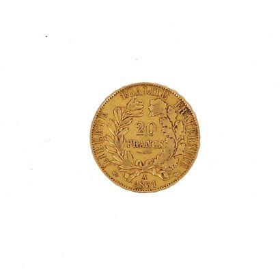 A gold coin of 20 FF Ceres  1851 A