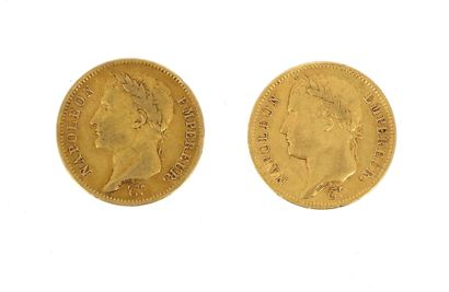 Two 40 FF gold coins Napoleon Emperor laureate...