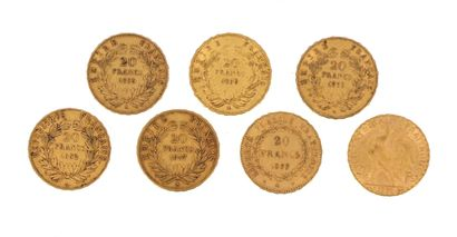 Seven gold coins of 20 FF :  - 5 x 20 FF...