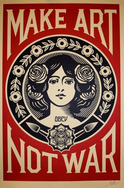 Shepard FAIREY (né en 1978)  Make art not war  Impression offset, épreuve signée,...