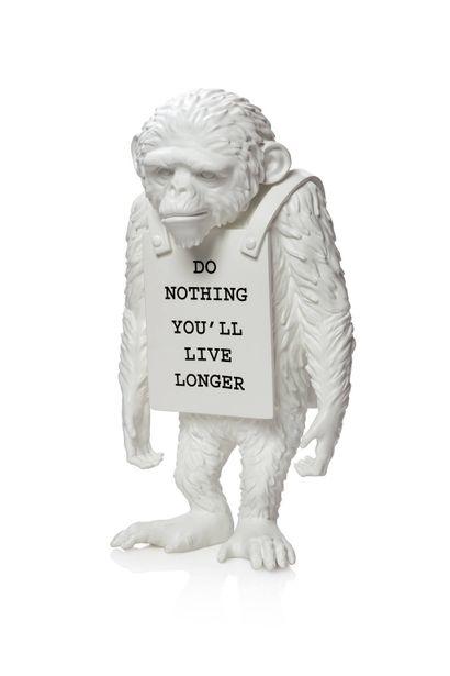 BANKSY (born 1974)  Monkey (white) Do nothing...
