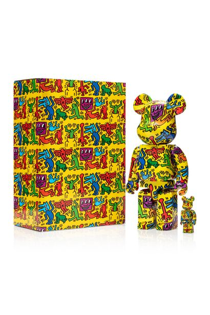 Keith HARING (1958-1990)  Be@rbrick 400% and 100%  Vinyl  Height: 28cm    Edition...