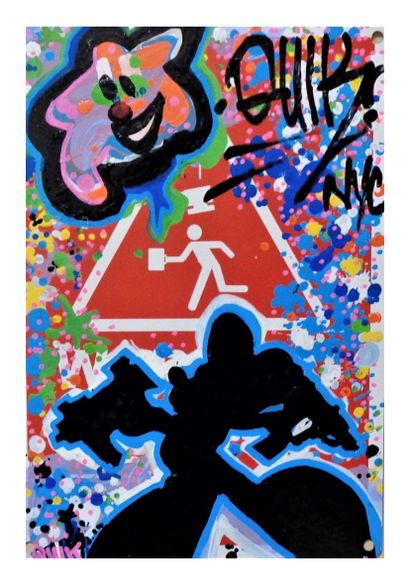 Quik (1958)  Mickey's warning sign  Acrylic on metal panel signed on top right,...