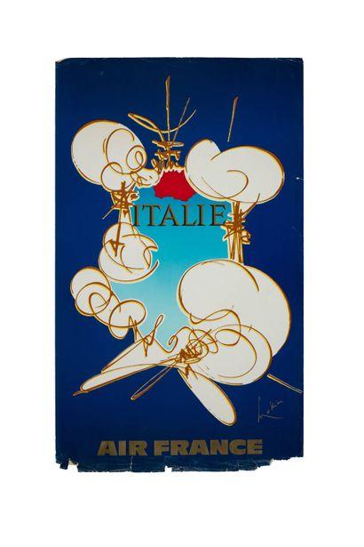 Air France et Georges MATHIEU  Ensemble de 12 affiches Air France,  Chaque affiche...