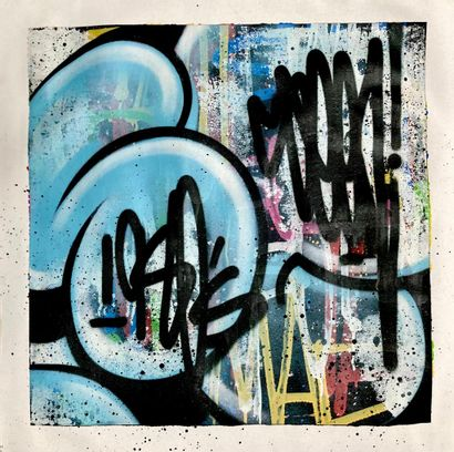 SEEN (born 1961)  Buble Blue, 2020  Aerosol painting on canvas signed on the top...