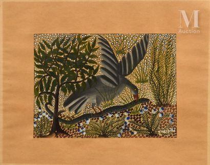 Pilipili MULONGOY (1914-2007) Untitled  Gouache on paper signed lower right  43,5...