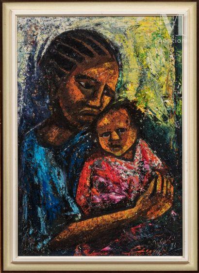 Nkusu FELELO (né en 1914) Mère et enfant, 1973  Huile sur carton signé et daté en...