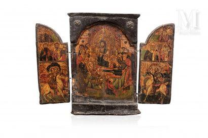 *Icône triptyque figurant au centre la Dormition de la Vierge,