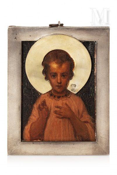 Très rare icône du Saint Sauveur Emmanuel.