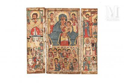 Triptyque figurant au centre la Mère de Dieu à l'enfant Jésus