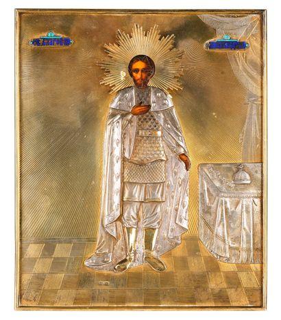 Rare icône du Saint Prince Alexandre Nevsky....
