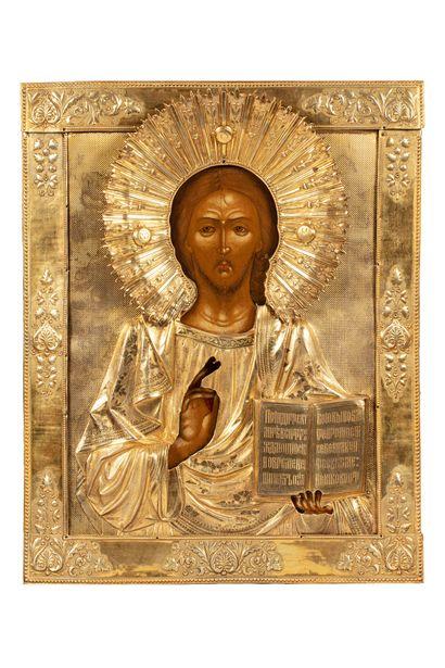 Grande icône du Christ Pantocrator. Tempera...