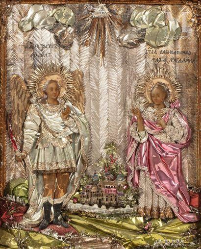 Icône du Saint Archange Michel et Sainte Marie Madeleine.