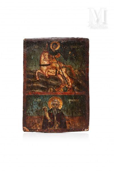 Icône à deux registres figurant Saint Dimitri et Saint Stylianos de Paphlagonia