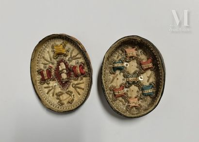 Reliquary box decorated with a heart, three flowers and two Maltese crosses on the...