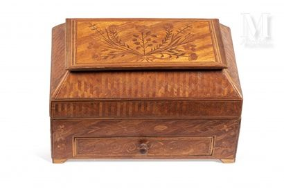 Box opening on two compartments and a drawer....
