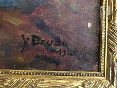 Yvonne BRUDO (Active au XIX et au XX ème siècle) Portrait de femme  Huile sur toile...