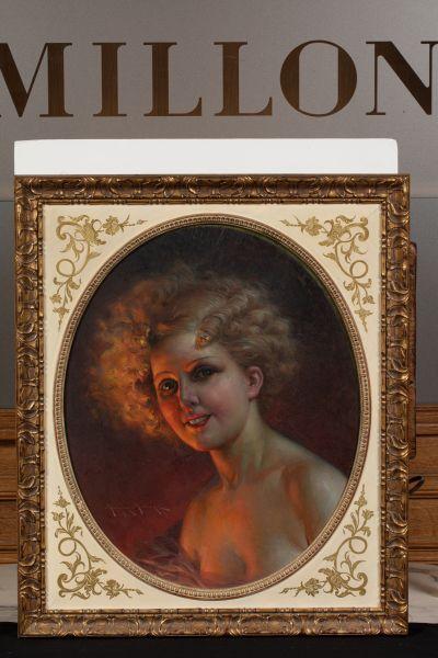 Maurice MILLIERE (1871 - 1946) Portrait de femme  Huile sur isorel  52 x 43,5 cm...