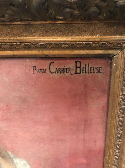 Pierre CARRIER- BELLEUSE (1851 - 1932) Jeune fille au violoncelle  Huile sur toile...