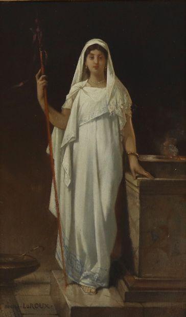 Hector LEROUX (1829-1900)  Vestale  Huile...