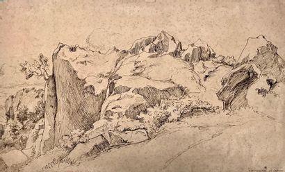 CARUELLE d'ALIGNY (1798-1871)  A la serpentara...